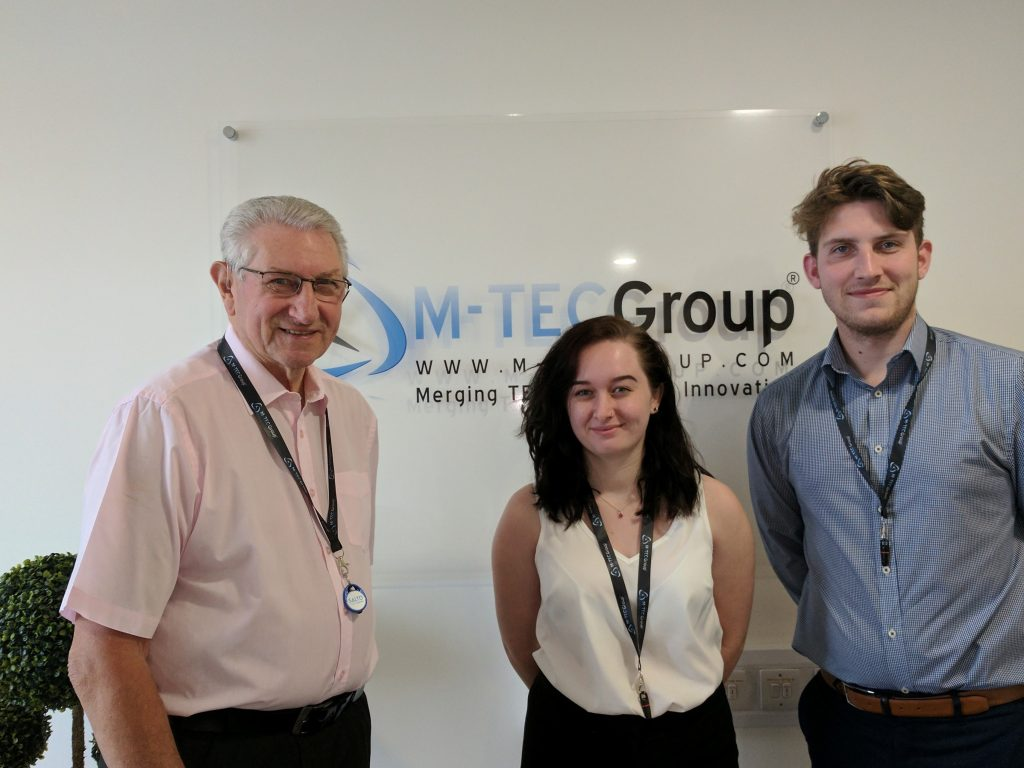 M-TEC New apprentices Reanne Wakefiled & Will Skelly with Training Officer Frank Lording
